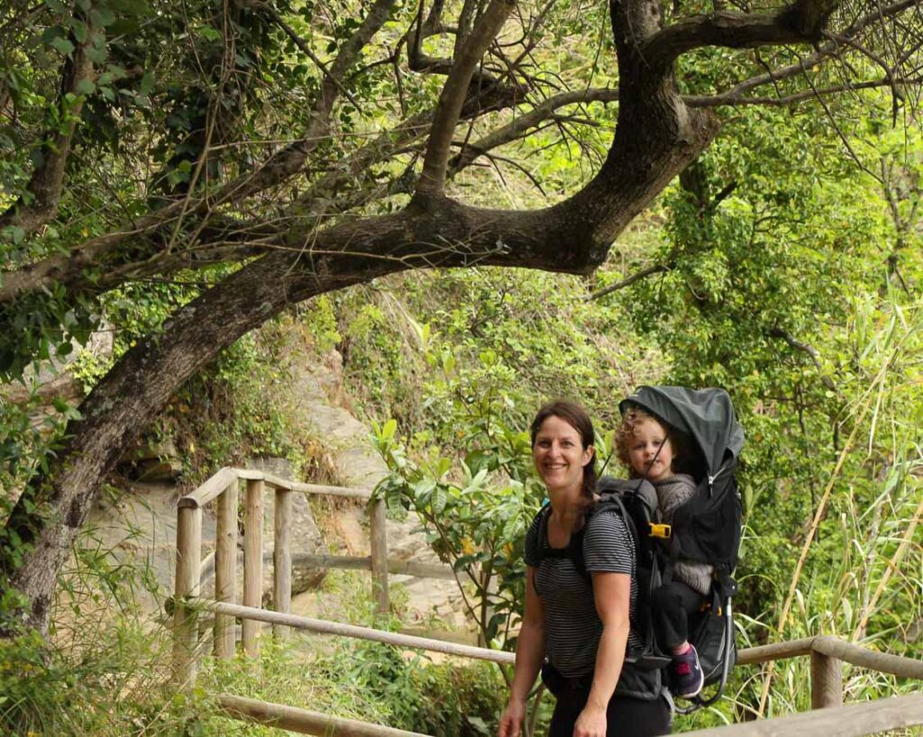 Hiking Cinque Terre with a toddler is easier with a backpack carrier