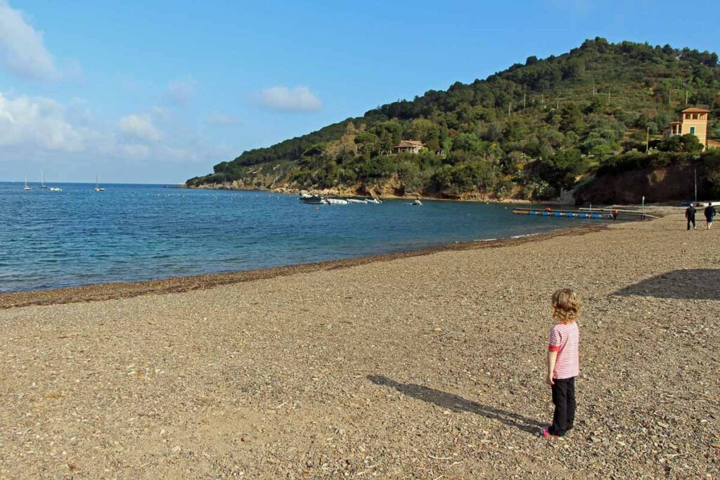 Stopping at the beach after cycling Portoferraio to Bagnaia, Italy