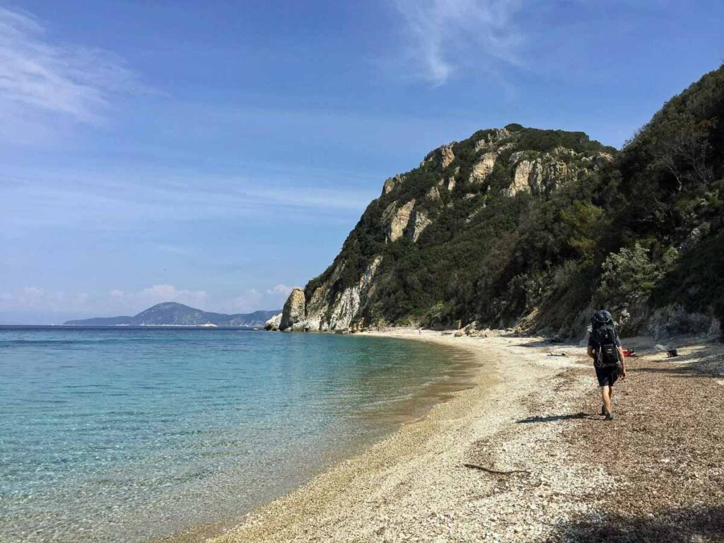 Wear water shoes to the Elba Island beaches as the pebbles are hard on your feet