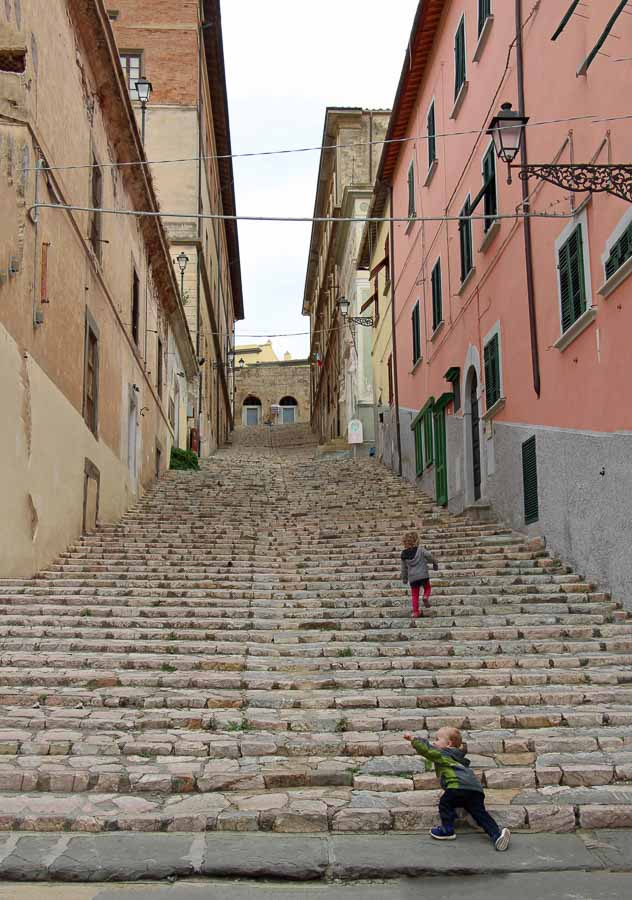 The kids loved this long set of stairs in Portoferraio, Elba, Italy