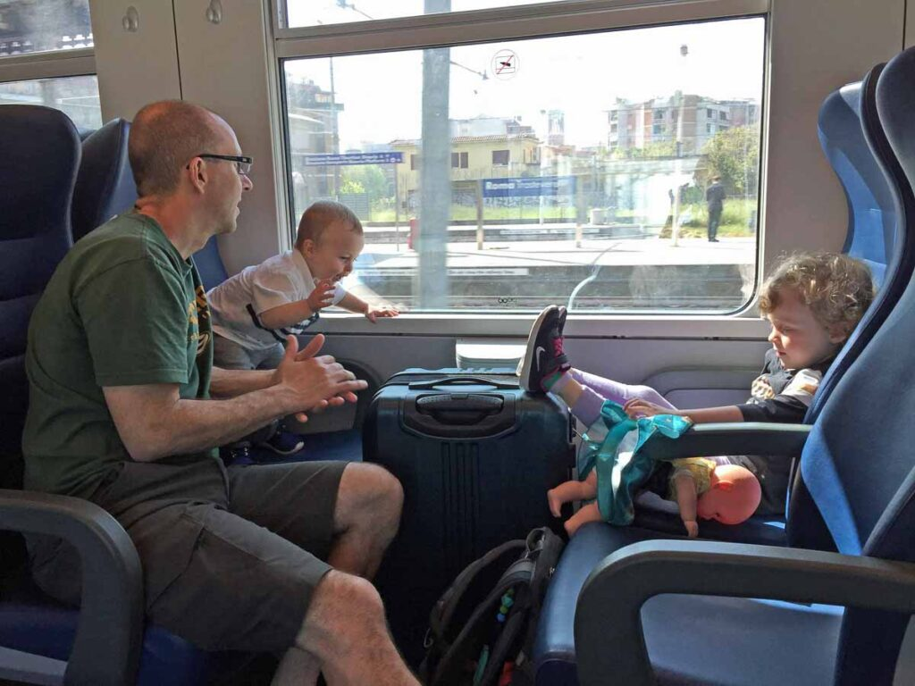 The kids loved taking the train in Italy from Rome to Elba