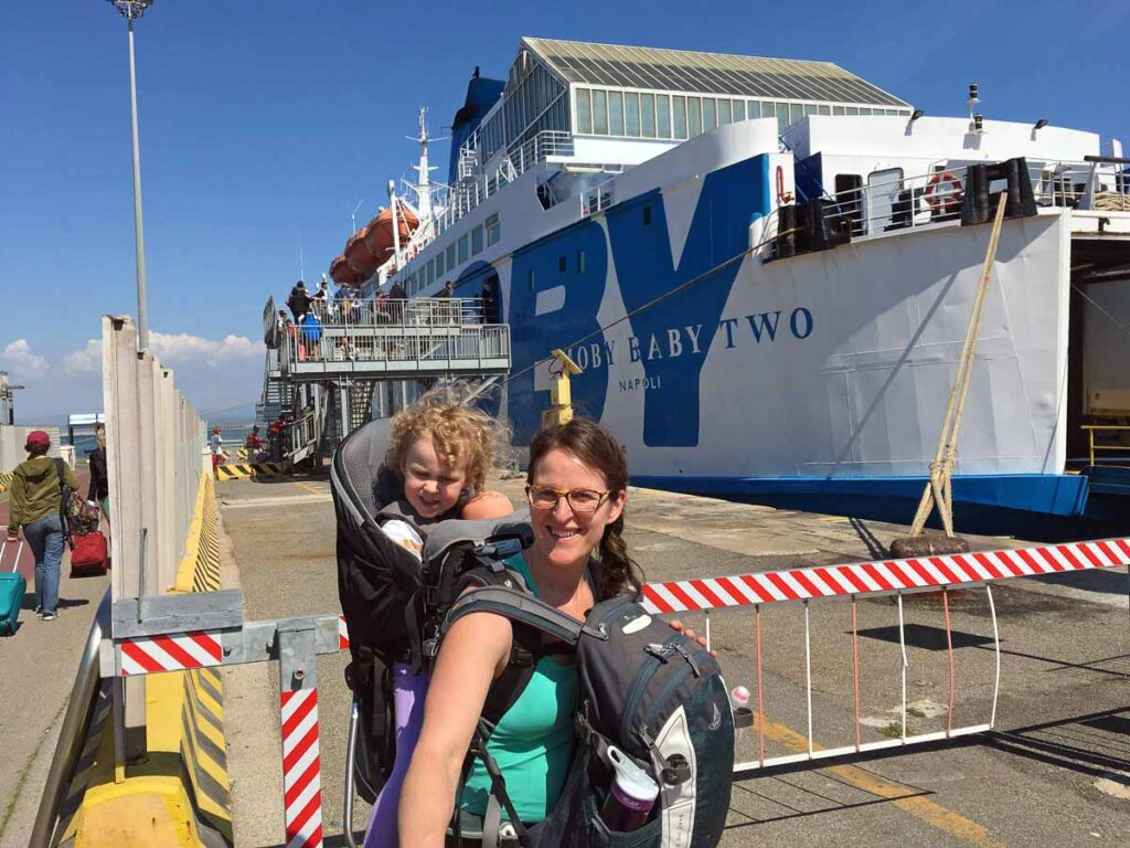 visiting Elba, Italy with kids - About to board our Moby ferry to Elba at the Piombino Marittima ferry terminal