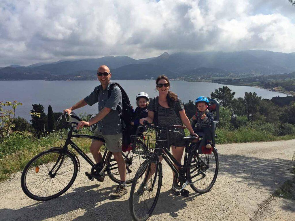 With Portoferraio rental bikes, we cycled to Bagnaia, Italy with kids