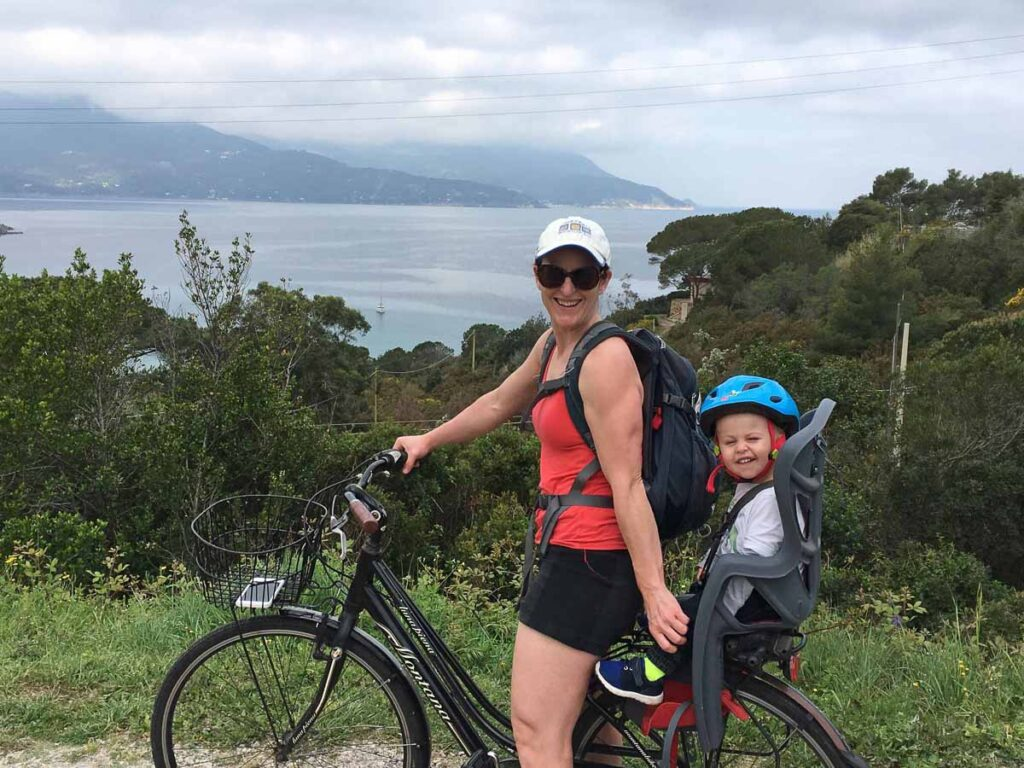 Our toddler loved his child seat on our Portoferraio bike rental