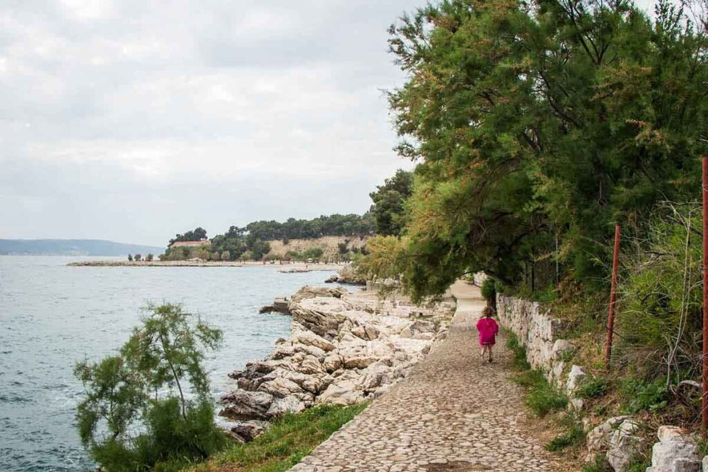 Walking to Jezinac Beach in Split Croatia - Split things to do with kids
