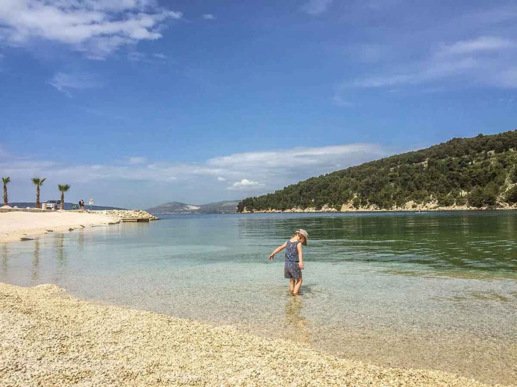 Kasjuni Beach with kids in Split Croatia