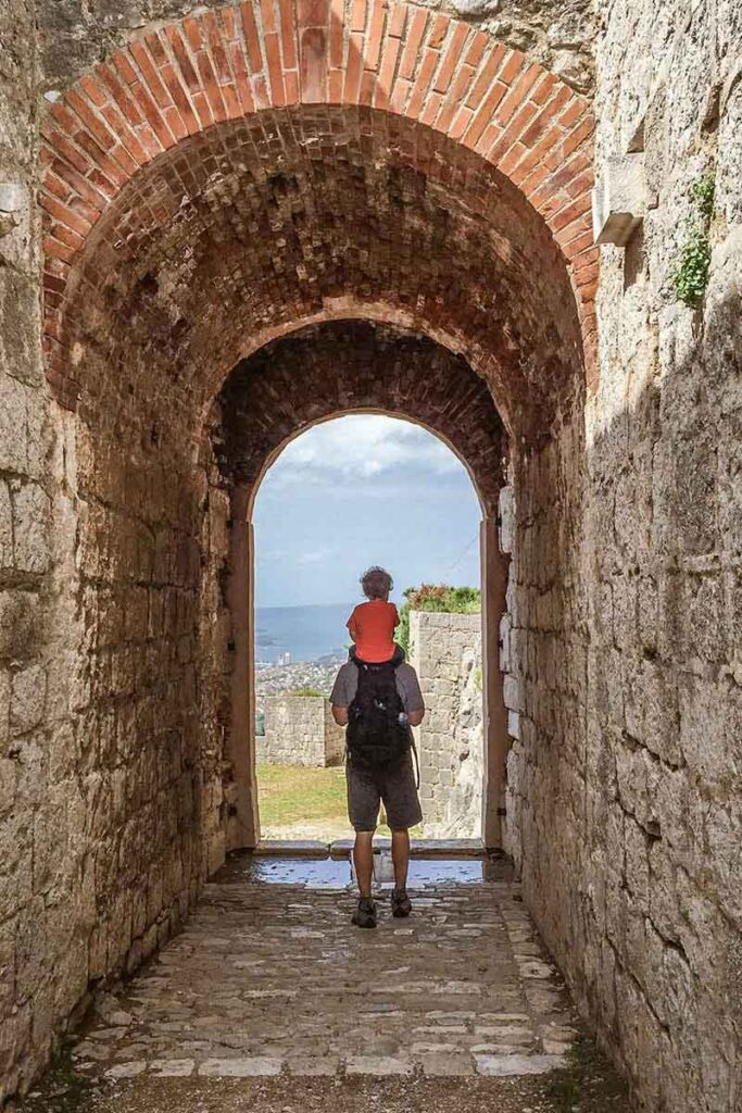 exploring Klis Fortress in Split with a toddler