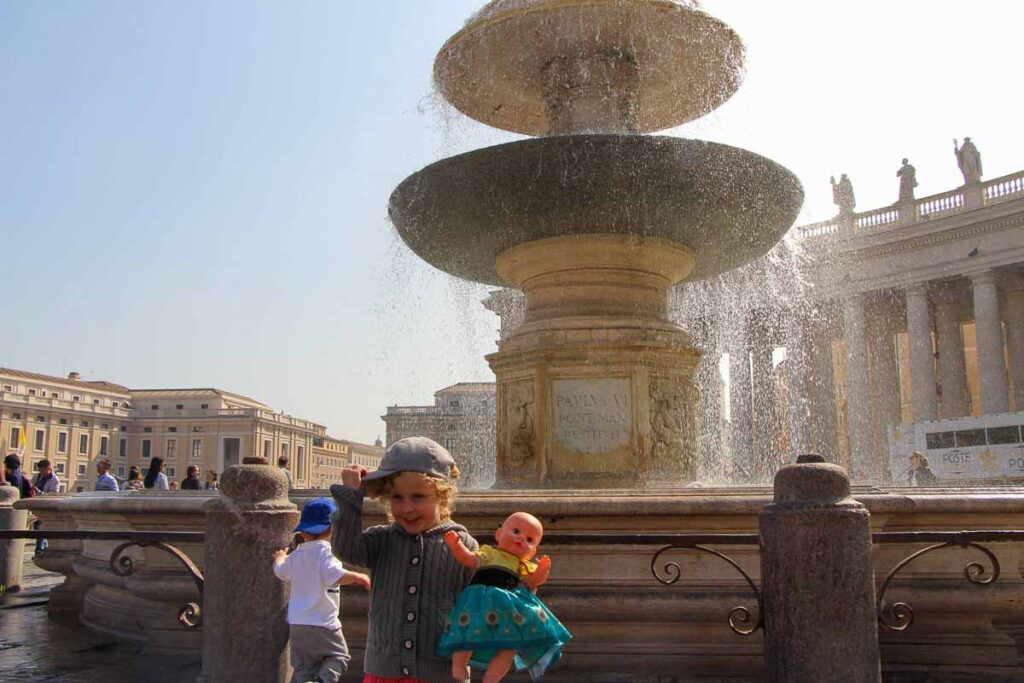 Any family visiting the Vatican with kids will enjoy the fountains in St. Peter's Square