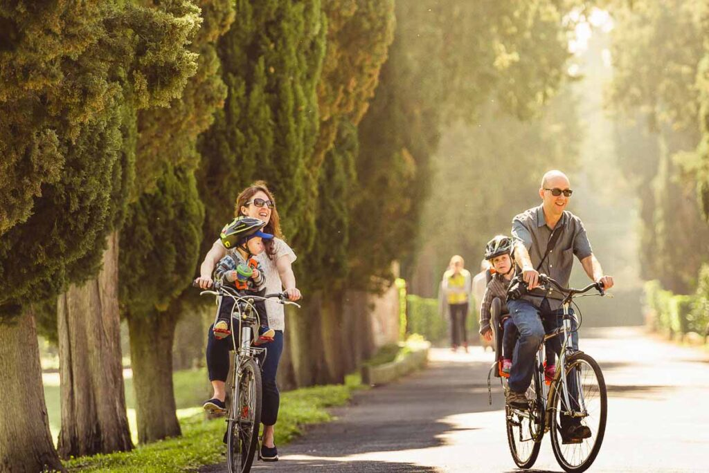 Cycling the Appian Way was a fun part of our Rome with kids itinerary