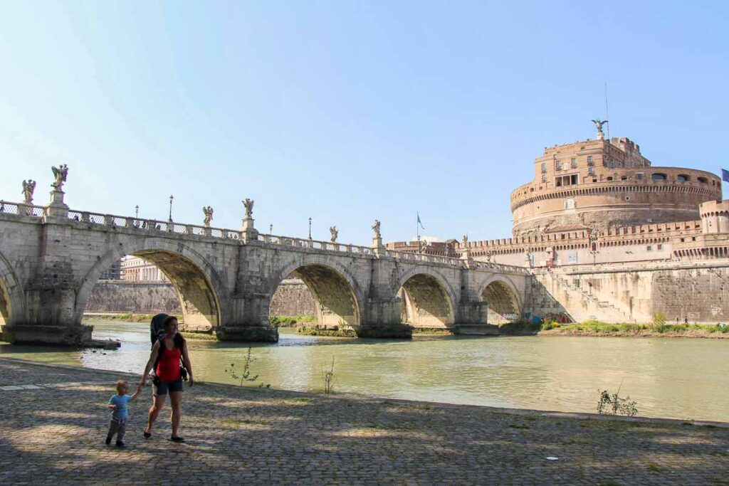It can be hard to find enough space to let toddlers walk in Rome - the Tiber River walkway is perfect for a family walk in Rome