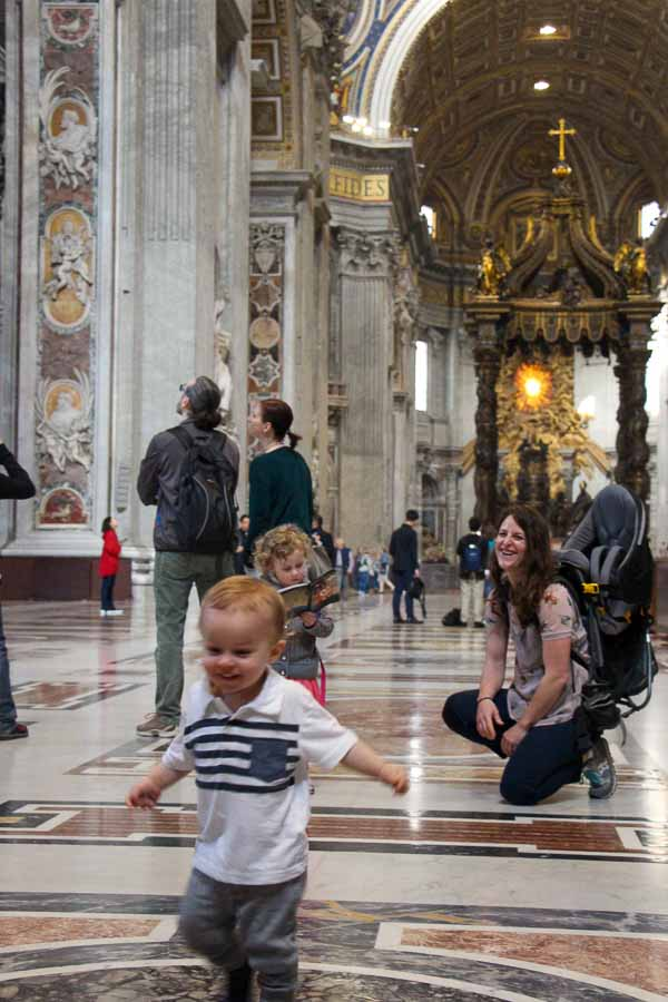 When visiting Rome with a toddler, get places early so they can walk without it being too crowded