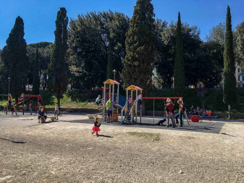 A 7 Day Rome with kids itinerary needs to include some time ar Rome playgrounds, like this one at Castle Sant' Angelo