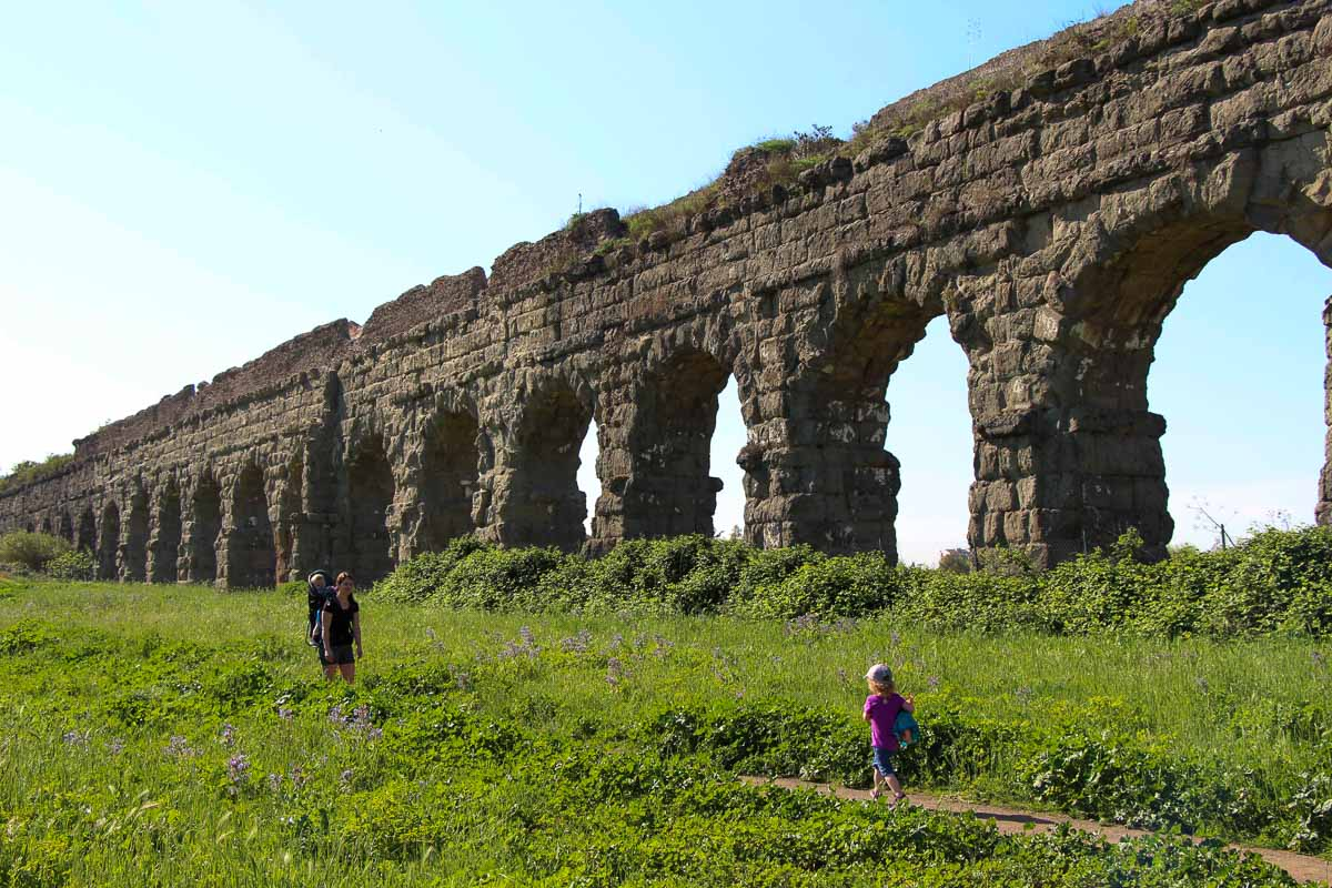 We loved visiting Rome's Aqueduct Park with kids