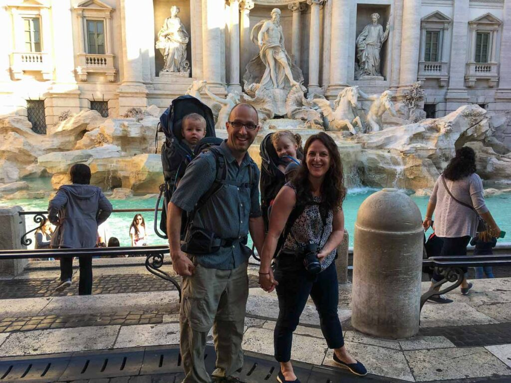 Get to the Trevi Fountain with kids early for a chance at a good family photo