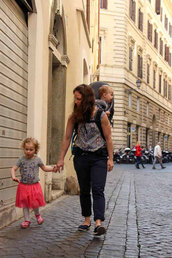 We did not bring a stroller to Rome. We toured Rome with kids using a backpack carrier and holding hands with walking toddlers