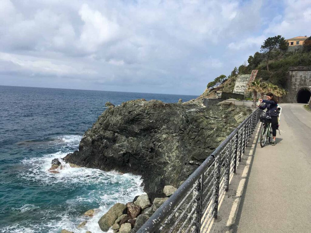 cycling in italy with kids - The Cinque Terre bike path from Levanto to Framura has some amazing views of the spectacular Italian coastline