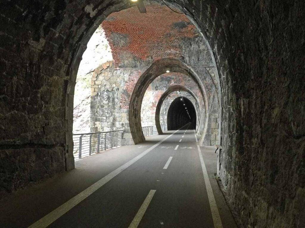A Cinque Terre bike tour through amazing rail tunnels