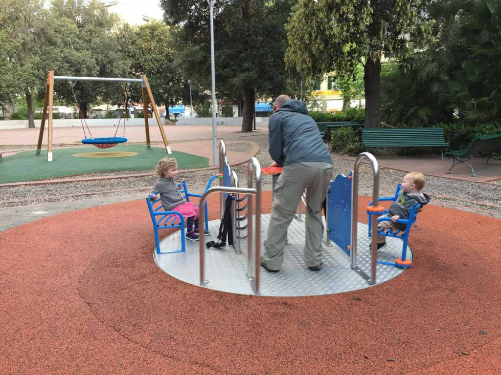 We stopped at a Levanto playground before beginning our self-guided bike tour to Framura