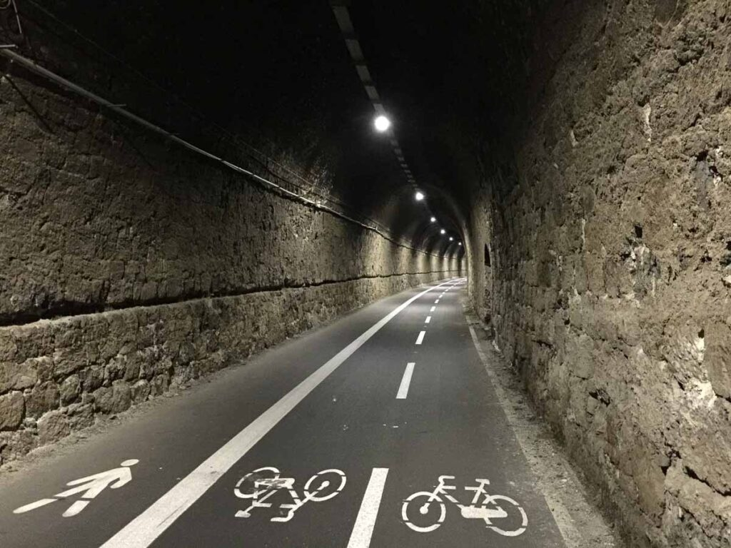 This self guided Cinque Terre bike tour from Levanto to Framura runs though a converted railway tunnels