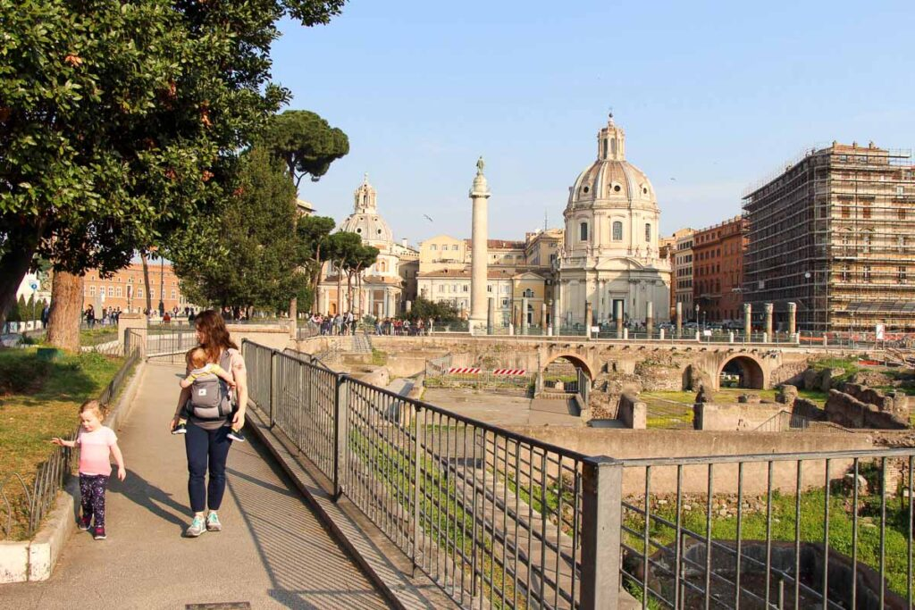 Family vacations in Rome should include plenty of easy walks, such as this one on the way to the Rome Colosseum