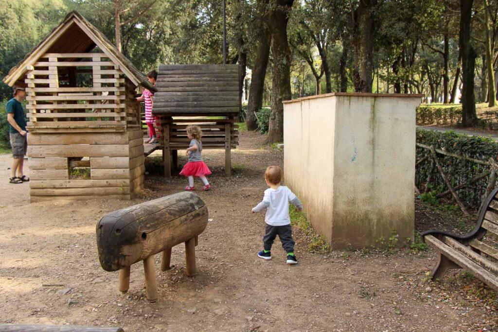 Enjoying a fun Rome playground in Villa Borghese Gardens