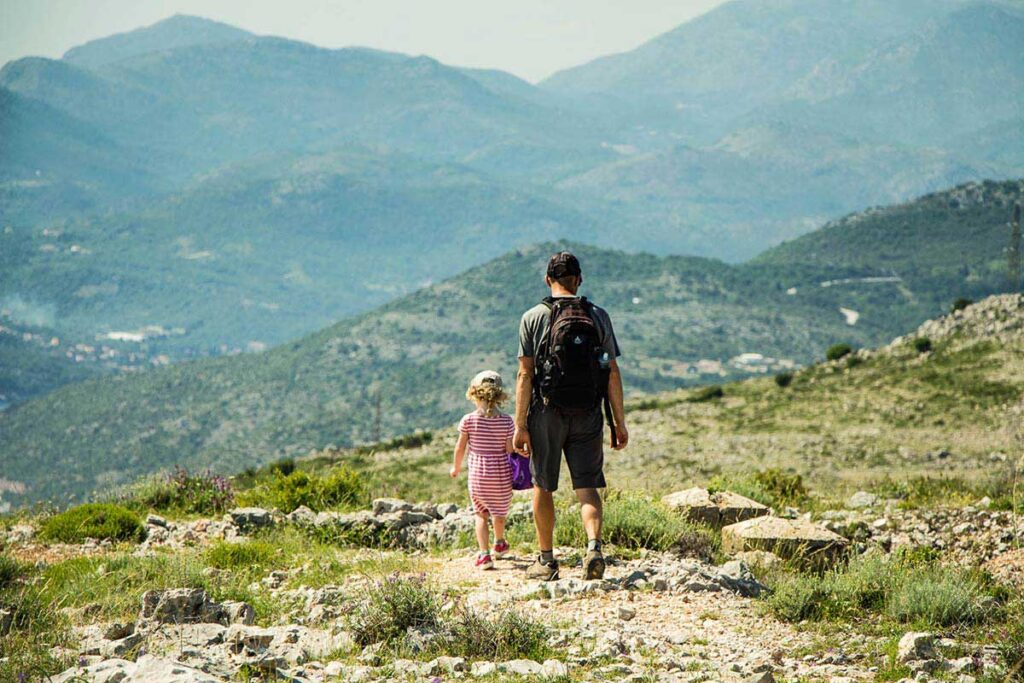 hiking at the top of Mount Srd Dubrovnik with kids