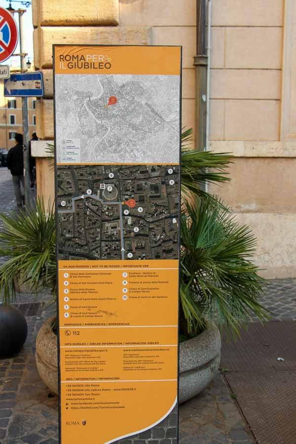 plentiful signs help tourists in Rome find their way around