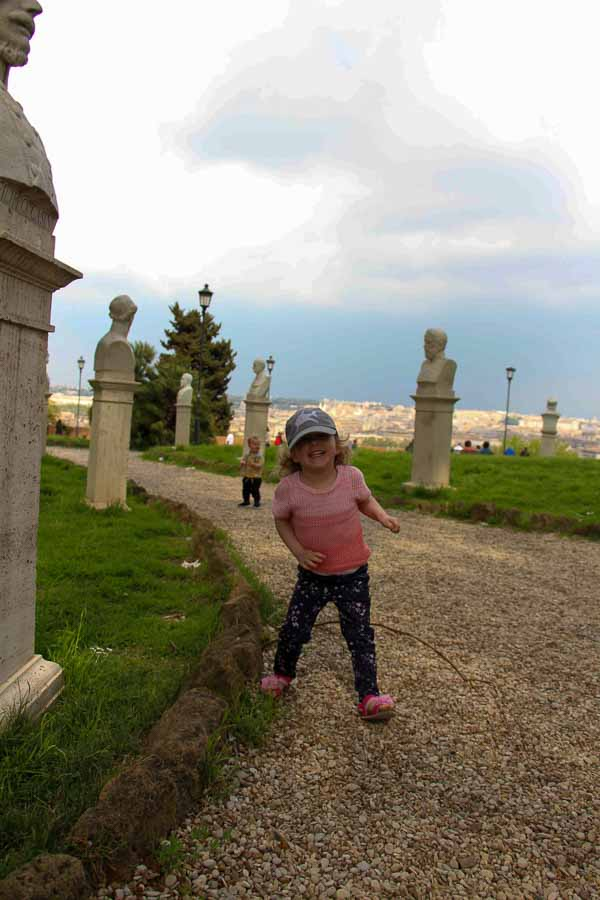 Our Rome with kids itinerary included some physical activities to keep the kids happy, such as the Janiculum Walk