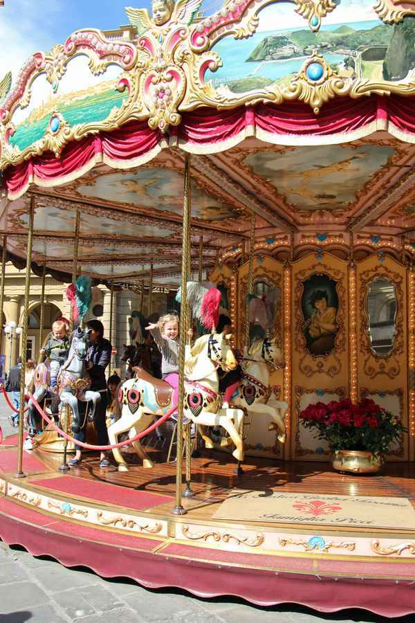The carousel in Piazza della Republica is one of the fun things to do in florence with kids