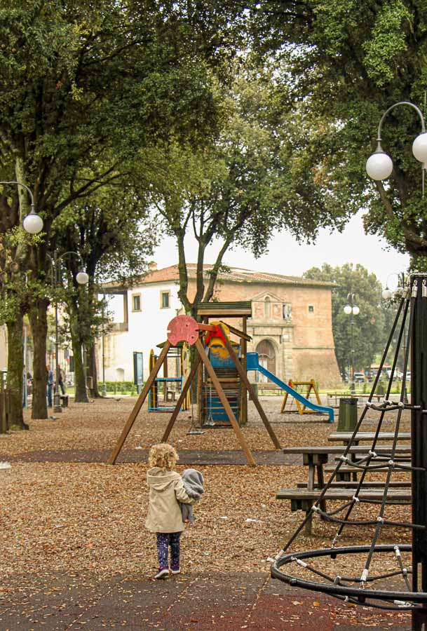 Our kids were happy to find this playground playground. lucca has several playgrounds within the walled old town