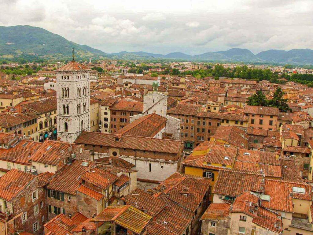 Climbing the stairs to the top of Torre della Ore was one of our top things to do in Lucca for kids