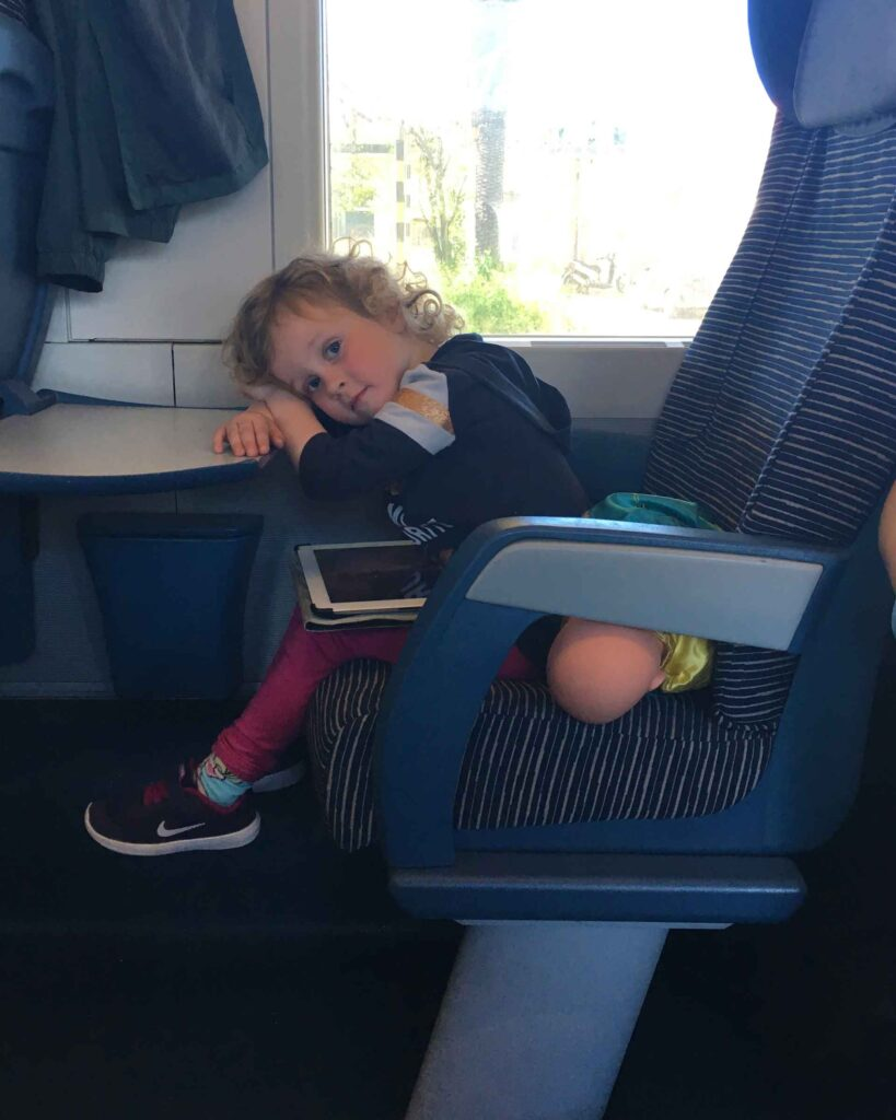 Kids love traveling by train in Italy