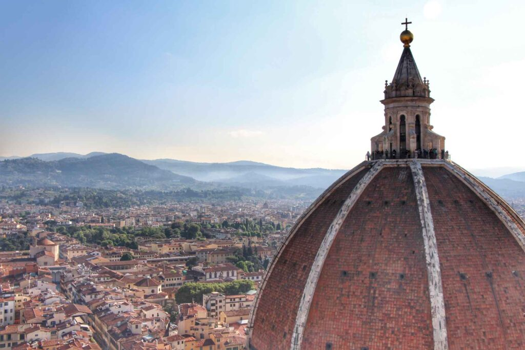 Great view of Cupola del Brunelleschi (Brunelleschi's dome) from Giottos Campanile in Firenze, Italy