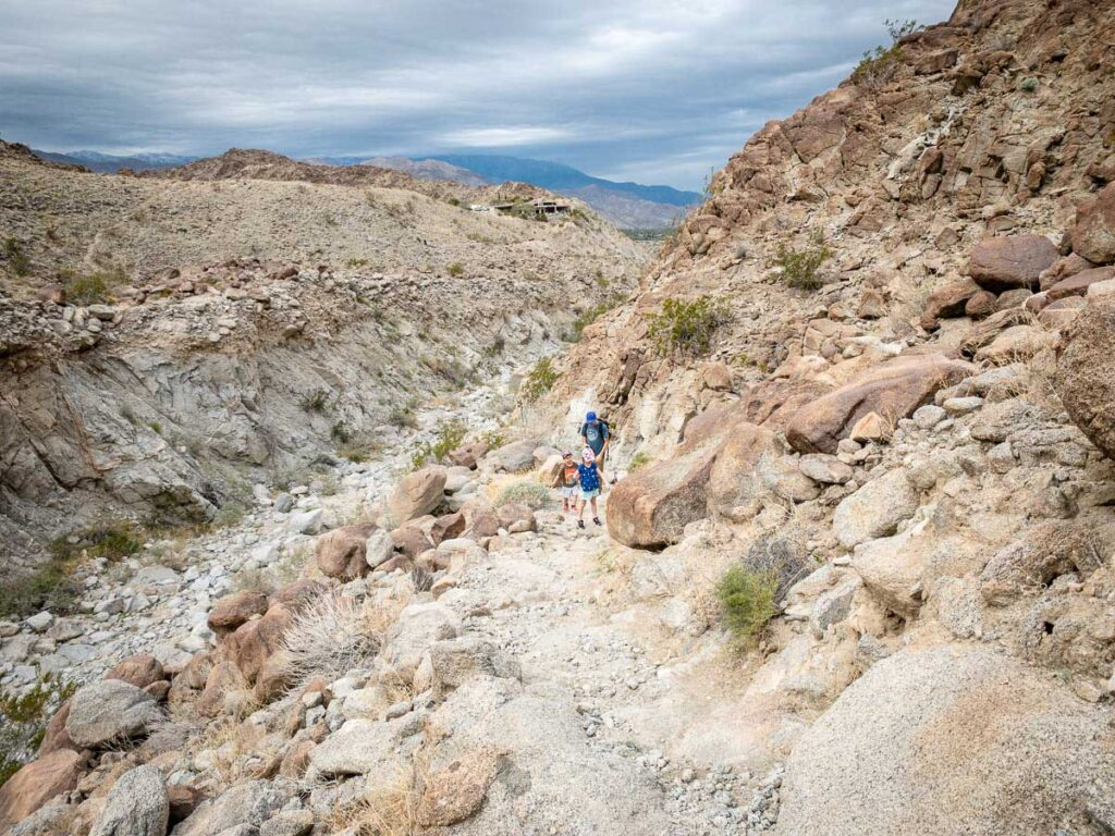 A family hikes up the western slopes of Eisenhower Mountain at the Living Desert Zoo