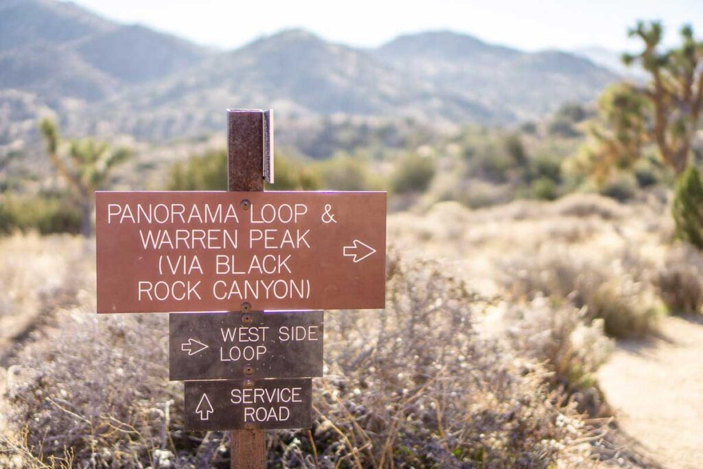 The Panorama Loop Trail begins in the Black Rock Canyon Campground in Joshua Tree National Park