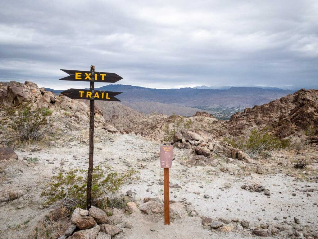 Trail signs for Eisenhower Mountain hikes in Palm Desert