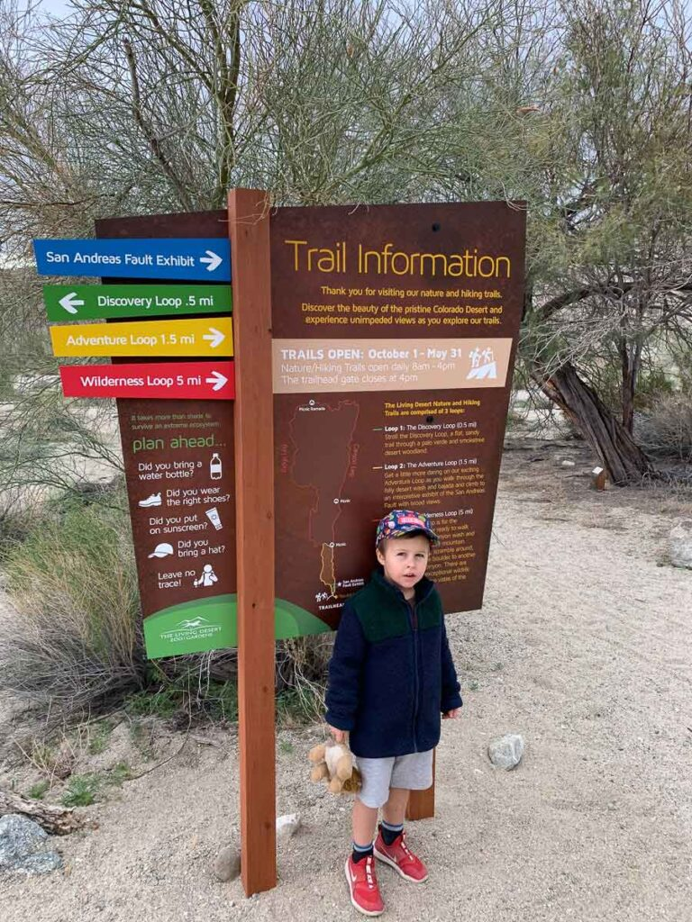 Living Desert Zoo Hiking Trail Information Sign for the Discovery Loop, Adventure Loop and Wilderness Loop