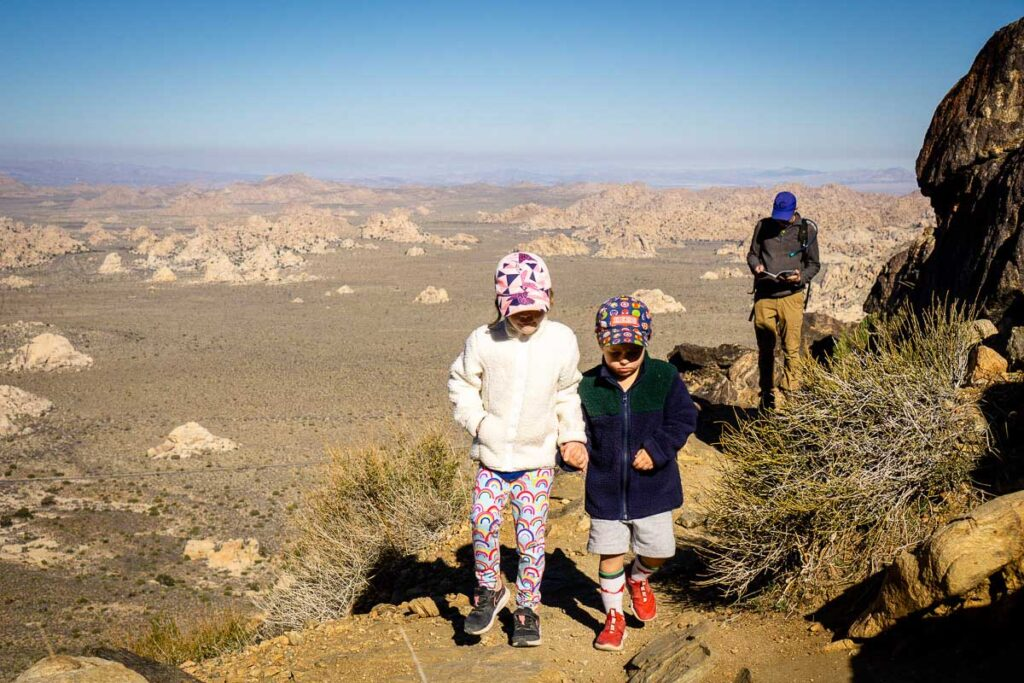 We brought extra clothes, sun hats and a water bladder in a daybag while hiking Ryan Mountain with kids