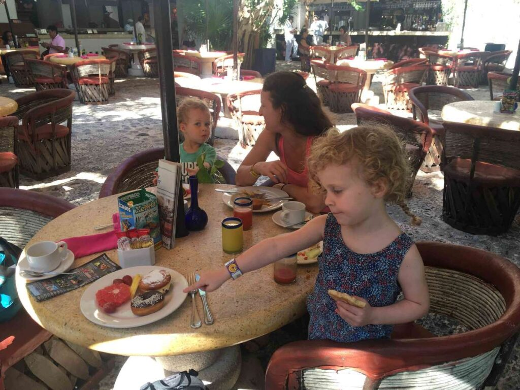 There was plenty of American food and Mexican food at the affordable La Orquidea breakfast buffet in Xcaret Park Mexico