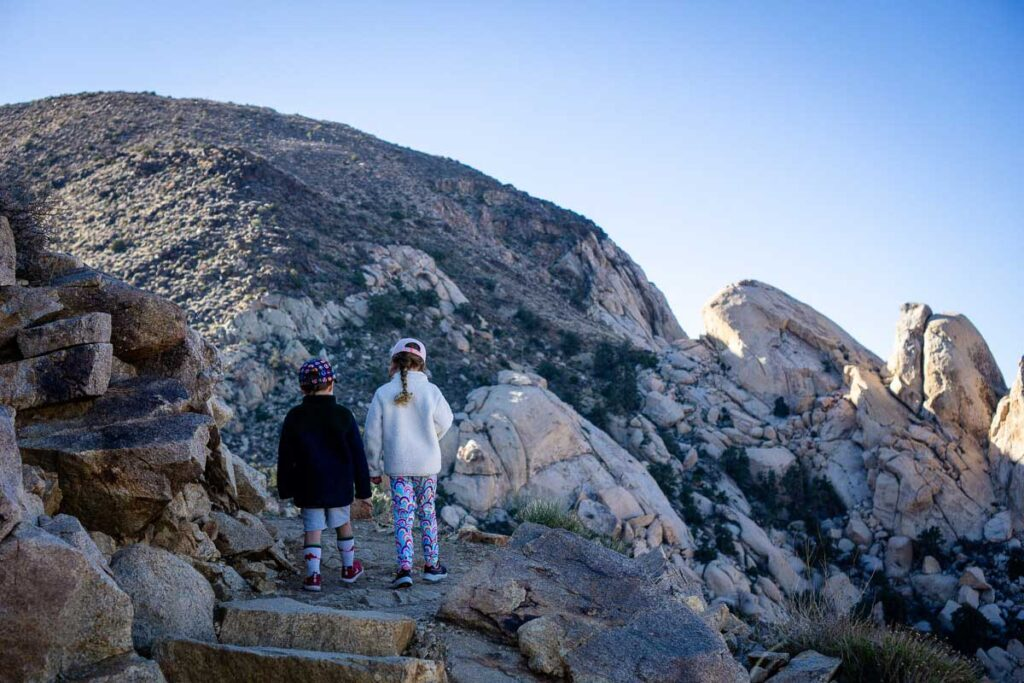 the Ryan Mountain Joshua Tree hike is in the shade in the morning - bring warm clothes
