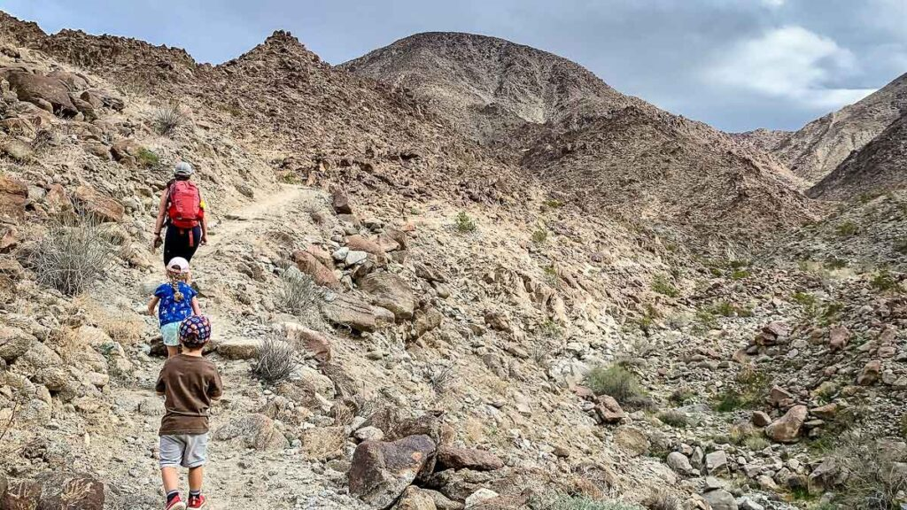 A family hikes up Eisenhower Mountain on the Living Desert hiking trails