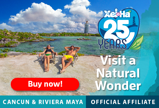Ad for Xel-Ha Park near Tulum, Mexico