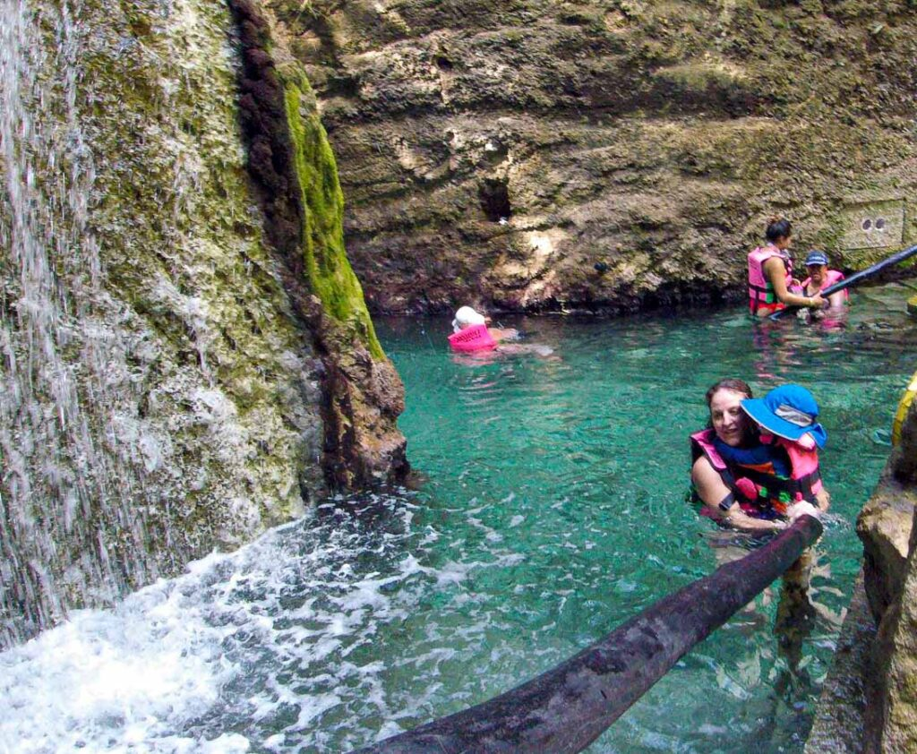 Toddlers are allowed to swim the Xcaret Underground River, but they may find the water too cold