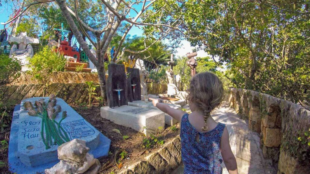 Our kids really enjoyed the colorful, interesting Xcaret cemetary