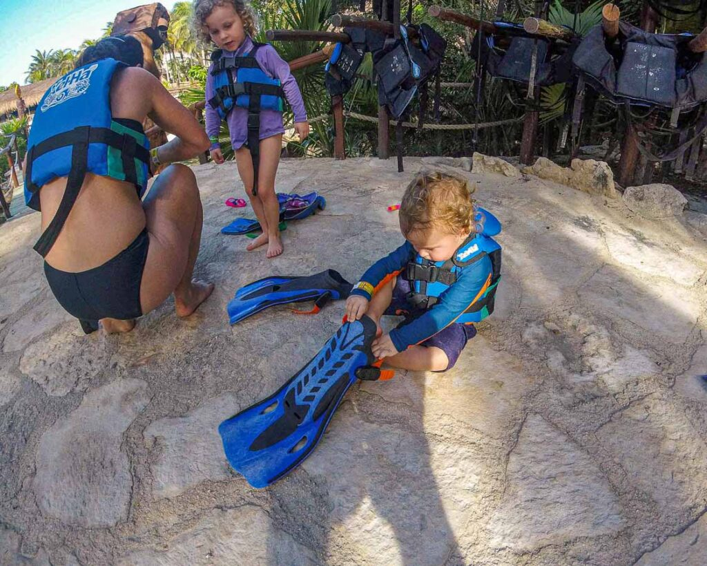 We were very happy that Xel-ha had small enough lifejackets for a toddler and preschooler