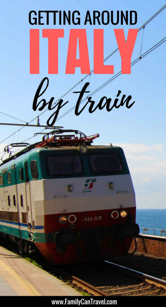 Traveling by train is one of the best ways to get around Italy. It's more relaxing than renting a car and the scenery is spectacular. Don't be shy taking the train with kids, it's a great way to travel with kids! #familytravel #italy #travelwithkids