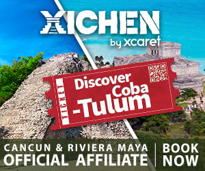 Advertisement for a Tulum & Coba tour by Xcaret