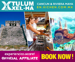 Advertisement for a Tulum & Xel-Ha tour by Xcaret