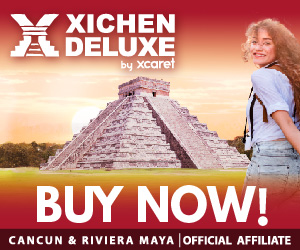 Advertisement for a Deluxe Chichen Itza tour by Xcaret