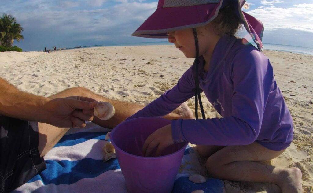 Lots of seashells make Playacar beach a kid-friendly Playa del Carmen beach
